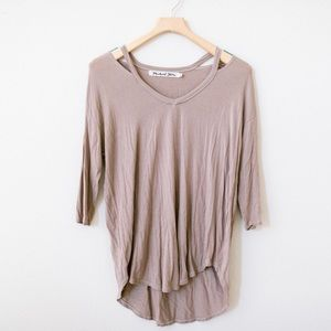 Michael Stars Cutout Long Sleeve V-Neck Tunic